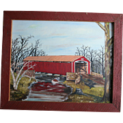 SALE Conewago Creek Pennsylvania Oil Painting Red Covered Bridge