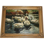 SALE PENDING Original Oil Painting  Alexander Koester Ducks in a Lake