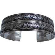 SALE High-End Sterling Silver Relief Double Layered Cuff Bracelet