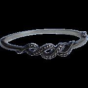 SALE Sterling & Marcaiste Clamper Cuff bangle Bracelet