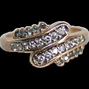 SALE 14K Gold Diamond & Blue Topaz Ring TCW .25 Mid-Century