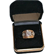 SALE Triple Diamond Art Deco 14K Gold .35 TCW Chunky Small Ring Size 3.25