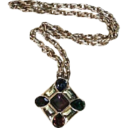 SALE Ciner Maltese Cross Statement Pendant Gold-Plated Runway Pendant Necklace