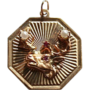 SALE Rare Elks 14K Gold Ruby & Pearl Pendant Charm