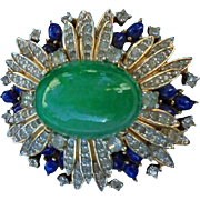 SALE Spectacular Jomaz Domed Pave Rhinestone Faux Lapis & Jade Brooch