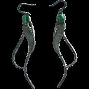SALE Modernist Sterling & Malachite Pierced Earrings