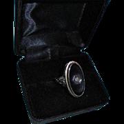 SALE Art Deco 14K Gold Diamond Onyx White Gold Ring Size 5 3/4