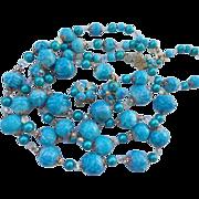 SALE Rare! Massive Vendome Runway Powder Blue Crystal & Blue Bead Necklace Set