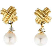 SALE TIFFANY 18K Gold Diamond Cultured Pearl Signature X Earrings