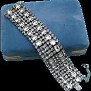 SALE High End Runway Rhodium Plated Rhinestone Baguette 6 Row Bracelet