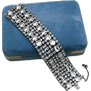 SALE High End Runway Rhodium Plated Rhinestone Baguette 6 Row Bracelet