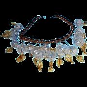 SALE Rare 1930s Brown Peking Glass Clear Bauble Festoon Necklace