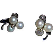 SALE 14K Diamond Cultured Pearl Shamrock Screwback Earrings