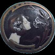 SALE Art Nouveau Sterling Enamel Nymph Portrait Brooch