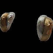 SALE 14K Gold Two-tone Etched Star  Motiff Pierced Earrings