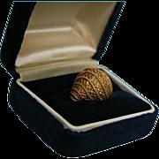 SALE High-End Estate 18K Solid Gold Domed Cocktail Ring Size 5 1/4