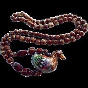 SALE Cloisonne & Jasper Figural Bird Pendant Necklace