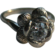 SALE Antique 14K Gold Diamond Transitional Cut Sculptural Solitaire Ring Size 5.5