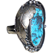 SALE 925 BW Navajo Billie Willis Sterling Silver & Turquoise Squashblossom Ring Size 6 3/4