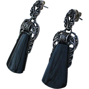 SALE Elegant 925 Onyx Marcasite Drop Earrings Sterling Silver