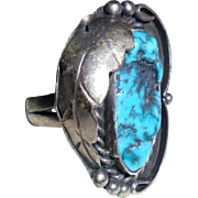 SOLD 925 BW Navajo Billie Willis Sterling Silver & Turquoise Squashblossom Ring Size 6 3/4