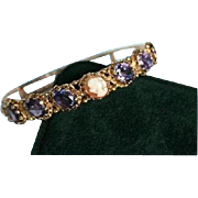 SALE 14K Gold Amethyst 12.0 TCW & Shell Cameo Hinged Clamper Bracelet