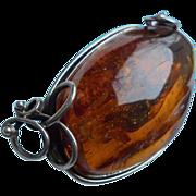 SALE Massive 50 Gram Baltic Amber Sterling Silver Brooch