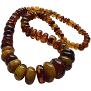SALE Massive Antique Baltic Amber & Butterscotch Egg Yolk Amber Beaded Necklace