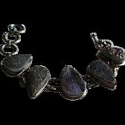 SALE Sterling Silver & Druzy Chunky Link Bracelet