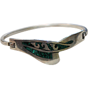 SALE Taxco Sterling Silver Inlaid Malachite Clamper Cuff Bracelet