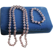 SALE 14K Gold & Rose Pink Quartz Beaded Bracelet & Necklace Set