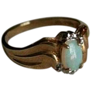 SALE 10K Gold Diamond & Fiery Opal Ring Size 6.25