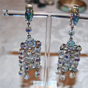 SALE Spectacular Vintage Larry Vrba AB Cut Crystal Chadelier Earrings