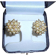 SALE Vintage 14K Yellow Gold Round Clip Cluster Cultured Pearl Cocktail Earrings