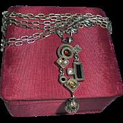 SALE Vintage Patricia Locke Crystal Modernist Pendant Necklace