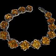 SALE Vintage Baltic Amber Solid Sterling Silver Bracelet