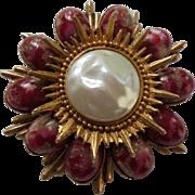 SALE Rare DeLizza & Elster Juliana Easter Egg Cabochon Art Glass Bead Sunburst Brooch