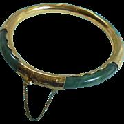 SALE Gold-Filled Genuine Jade Bangle Clamper Cuff Bracelet