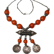SALE Antique Yemen Jewish Silver Copal Amber Beaded Dated Coins Stone Bridal Necklace