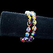 SALE Vintage Millefiore Ventian Glass Double Strand Bracelet