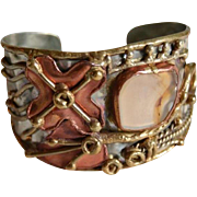 SALE Gorgeous Brutalist Hand Forged Cuff Bracelet with Inlaid Glass