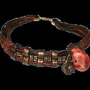 SALE Brutalist / Modernist Metal Leather Stone Collar Necklace