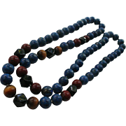 SALE Genuine Lapis Lazuli ~ Tiger Eye ~ Onyx ~ Red Turquoise Necklace