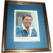 Authentic Framed Ronald Reagan Hand Signed Inscribed Photograph