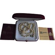 SALE Majorica Vintage New in Box with Papers Cultured Pearl Necklace