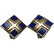 SALE Lapis Lazuli Gold-Plated Elizabeth Koller Austria Clip Earrings