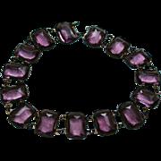 SALE Exquisite Antique Amethyst Glass Faceted Choker Necklace