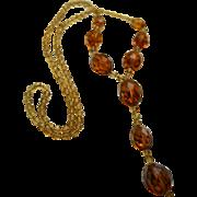 SALE Antique Czech Amber Glass Lavalier Necklace