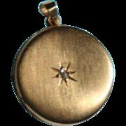 SALE Antique 14K Gold Victorian Diamond Locket Pendant