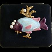 SALE Fabulous Vintage Fish Coral Reef Faux Pearl Brooch